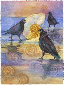 'Tis the Raven Nevermore watercolor gicl'ee reproduction available