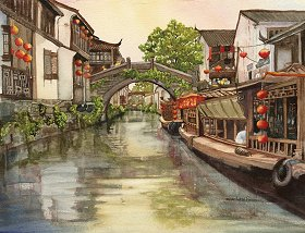 May Day in Suzhou watercolor gicl'ee reproduction available