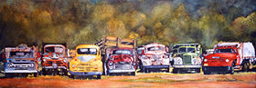 "All Truckered Out 7"" x 19"" watercolor gicl'ee reproduction available"