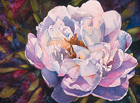 "Praise to the Peony 30"" x 38"" watercolor gicl'ee reproduction available"
