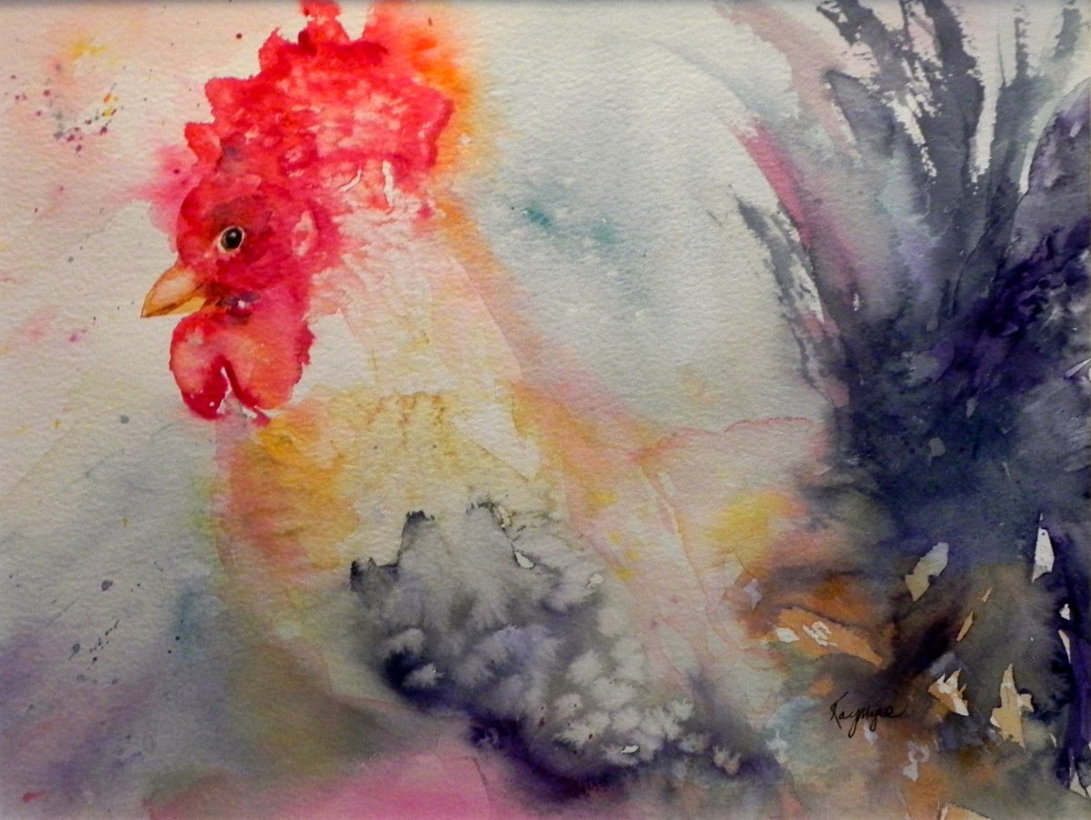 """Rooster"" watercolor $320"
