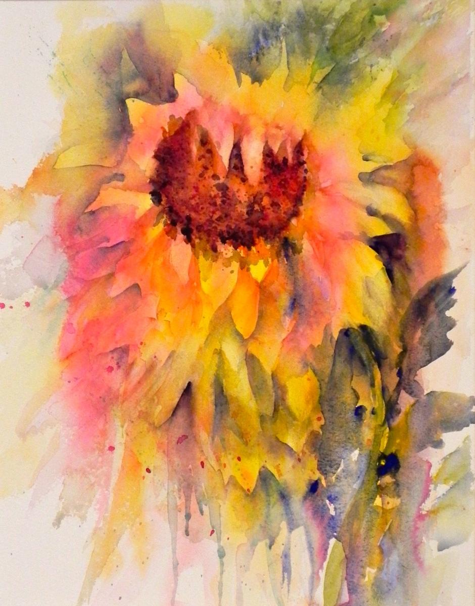 """Sunflower"" watercolor $390"