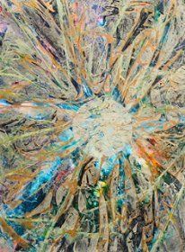"Soul Merge Iris 22"" x 30 - water media on paper"