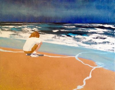 """""""Contemplating The Universe"""", watercolor 24""""h X 30""""w"""