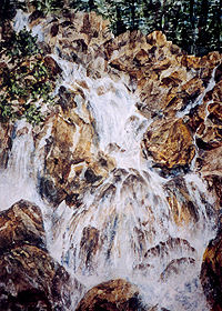 "Cascade Falls 30"" x 38"" watercolor & collage"