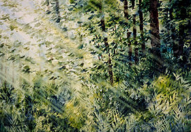 "Light in the Forest 36"" x 28"" watercolor"