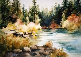 "Autumn on the Rogue 29"" x 37"" watercolor Giclee available"