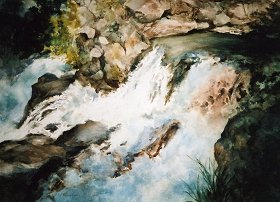 "Upper Rogue Gorge 250"" x 31"" watercolor"