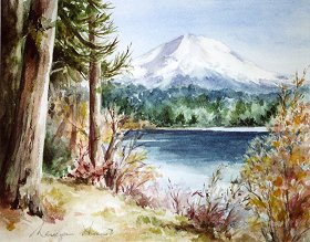 "Mt. Lassen & Manzanita Lake 28"" x 37"" watercolor"