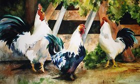 Pullet Sur-Prize watercolor NFS Giclee available