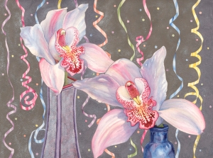 """Party Orchids"" watercolor by Lynda Hoffman-Snodgrass"
