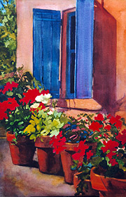 "Blue Shutters 14"" x 20"" watercolor $400"