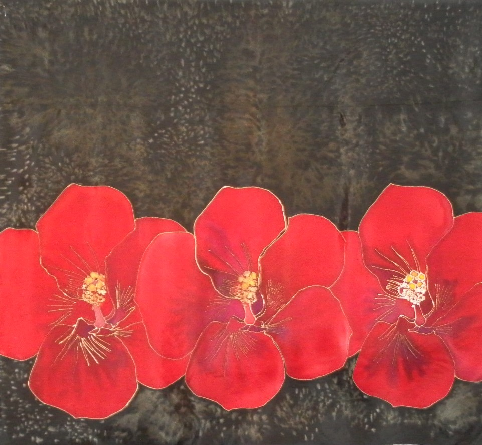 """""""Red Hibiscus"""" hand painted silk"""