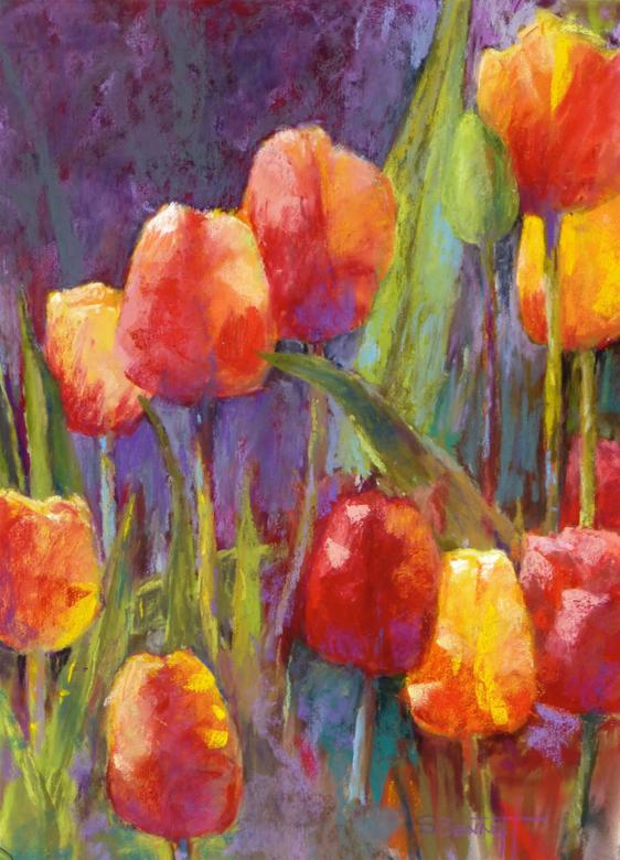 """Tulips Aglow"" pastel"