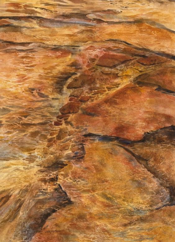 """""""Rio De Oro"""" watercolor 30 x 38 - Linda Boutacoff"""