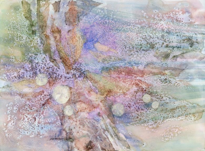 """""""Low Tide Treasures"""" mixed media 38 x 30 - Linda Boutacoff"""