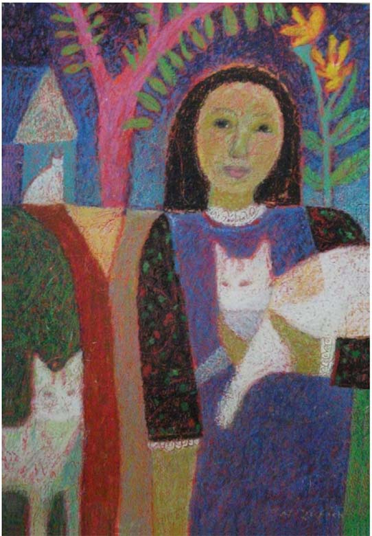 """Girl with Three Cats"" mixed media"
