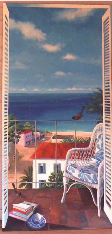 """Hawaiian Balcony"" Trompe L'oeil: acrylic on masonite panel approx. 36″ x 72″"