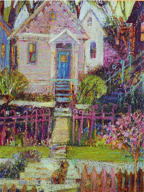 "Taste of Ashland Poster Award 2004 ""House with the Curly Fence"" mixed media"