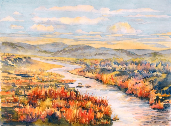 """""""Snyder Creek"""" 29″ x 21 1/2″ watercolor gicl'ee available"""