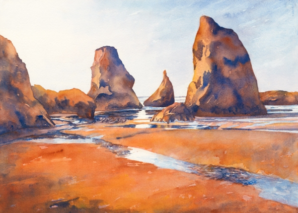 """""""Sun Reflections"""" 21 1/2″ x 15″ watercolor gicl'ee available"""