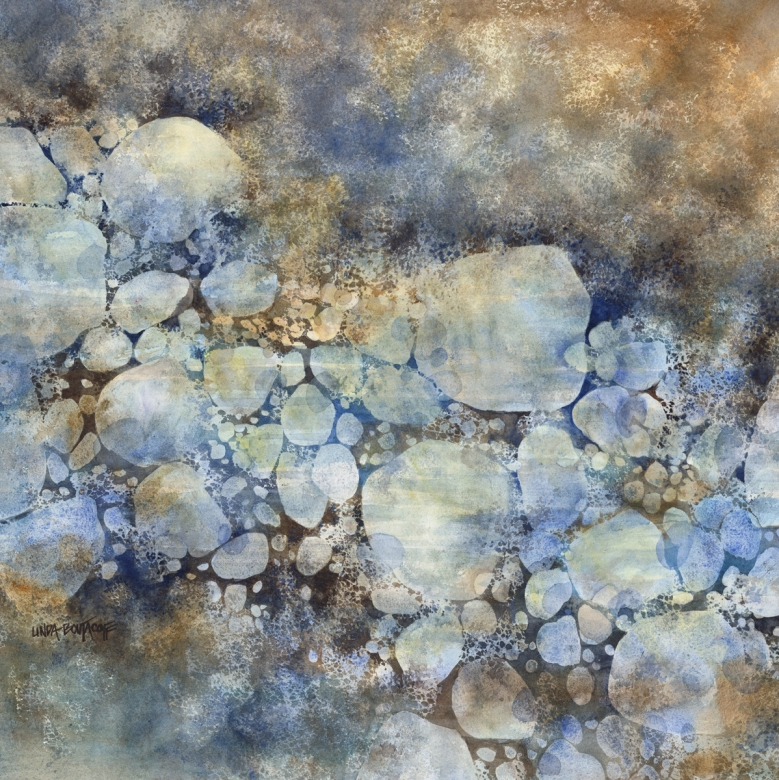 """Way Of The Stream"" watercolor 30 x 30 - Linda Boutacoff"