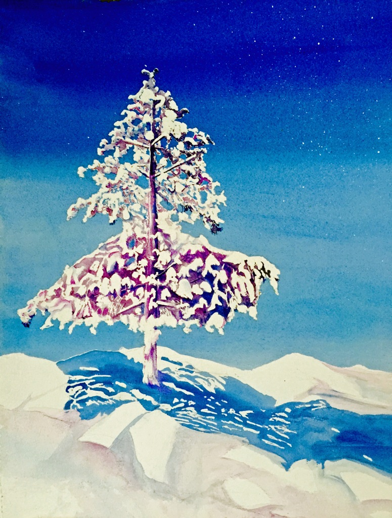 """Snow Moon"" watercolor by Pamela Haunschild"