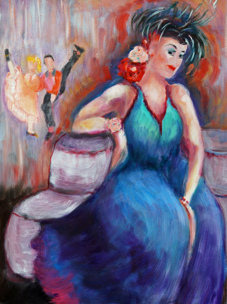 1940's Prom oil painting Claire O. Harkins