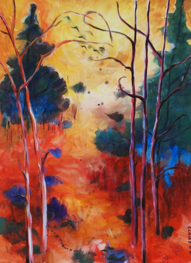 Enchanted Forrest oil painting Claire O. Harkins