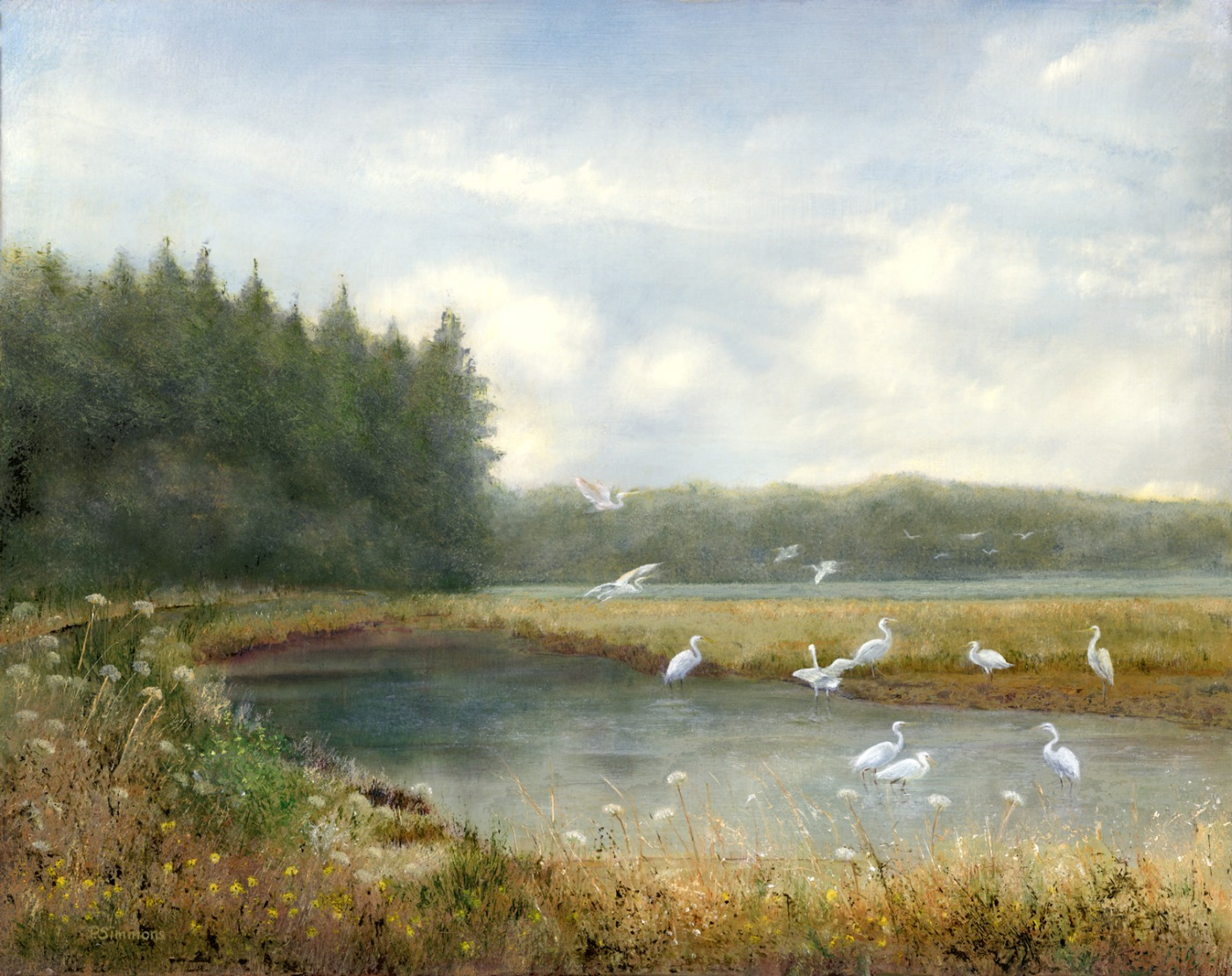 """Egret's of North Bend"" oil by Penny Simmons"