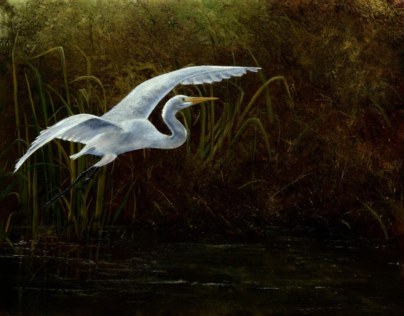 """Flight of the Egret"" oil by Penny Simmons"