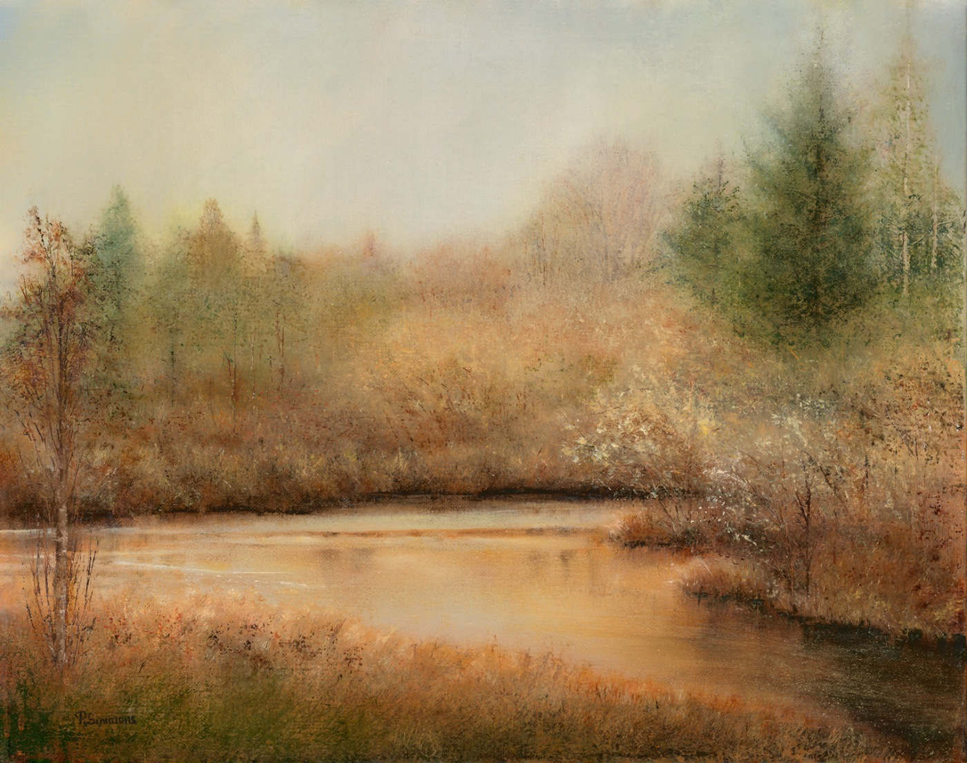"""Golden Pond"" oil by Penny Simmons"