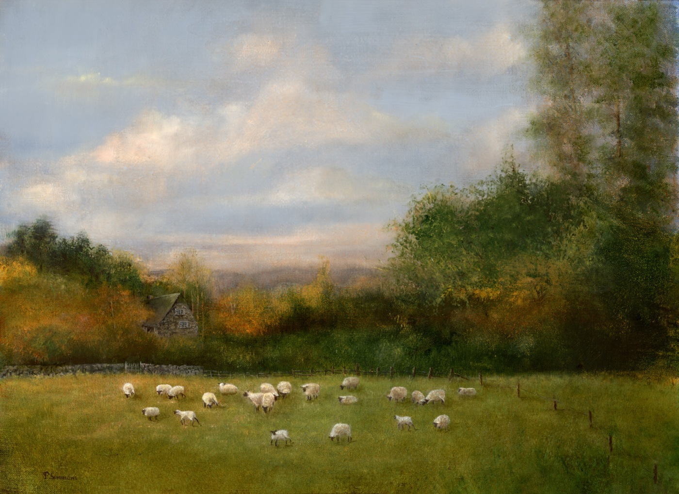 """The Flock"" oil by Penny Simmons"