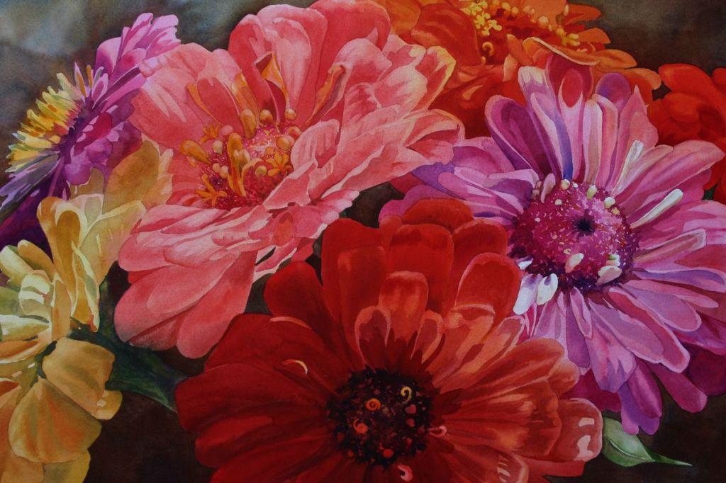 """""""Zinnia 7"""" by Judy Bjorlie"""